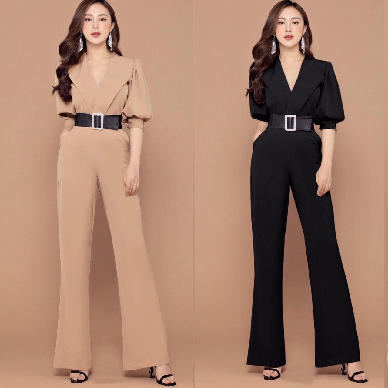 Jumpsuit cổ vest tay phồng thanh lịch